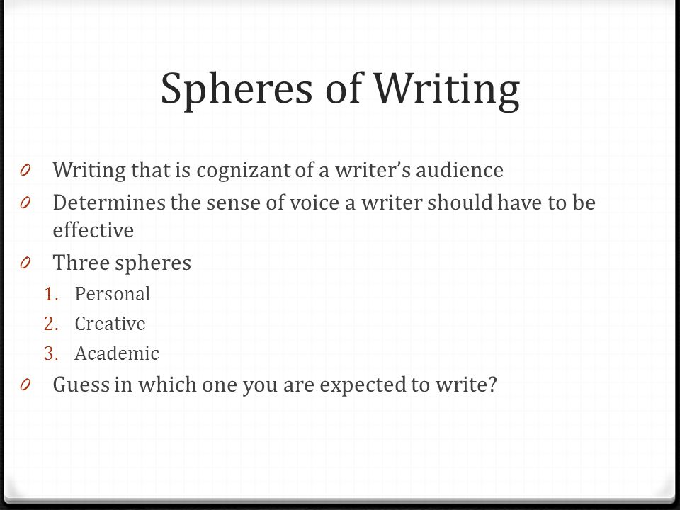 Spheres of Writing Writing that is cognizant of a writer's audience