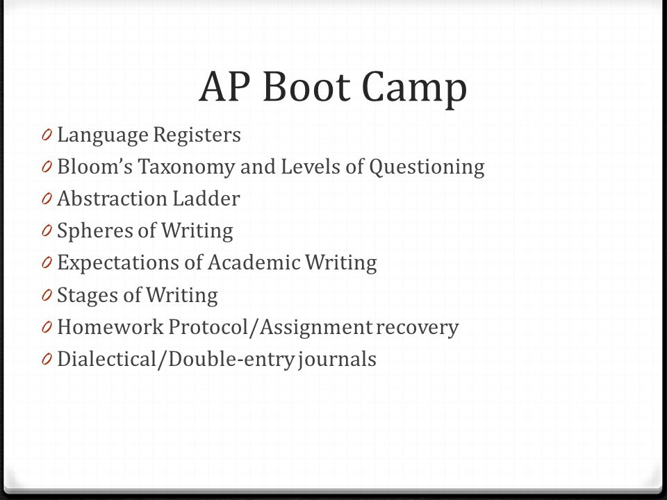 AP Boot Camp Language Registers