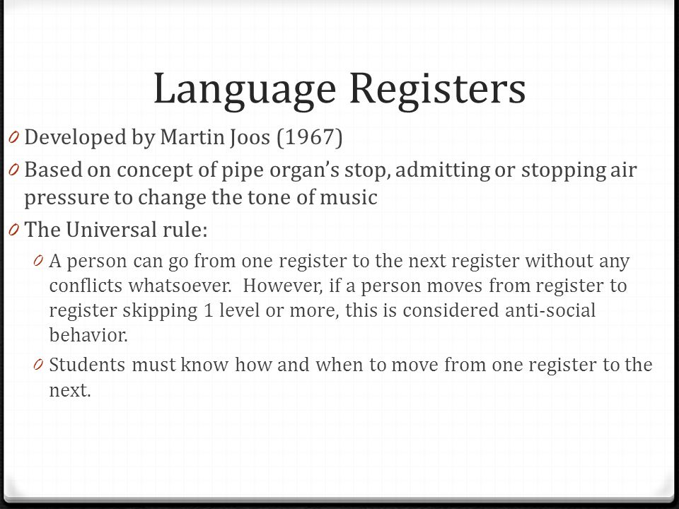 Language Registers Developed by Martin Joos (1967)