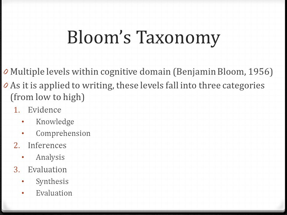 Bloom's Taxonomy Multiple levels within cognitive domain (Benjamin Bloom, 1956)