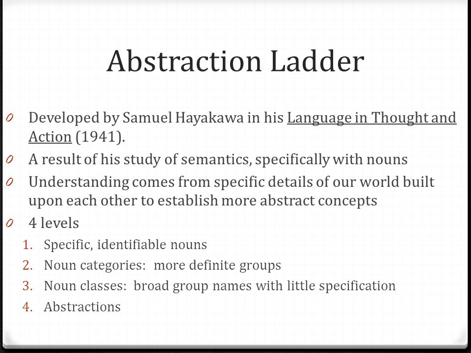 Abstraction Ladder Developed by Samuel Hayakawa in his Language in Thought and Action (1941).