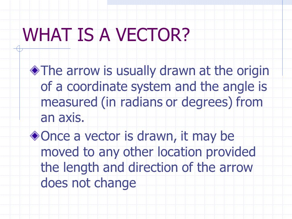 WHAT IS A VECTOR The arrow is usually drawn at the origin of a coordinate system and the angle is measured (in radians or degrees) from an axis.