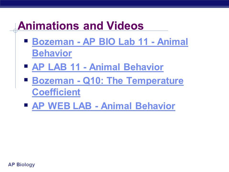 Animations and Videos Bozeman - AP BIO Lab 11 - Animal Behavior