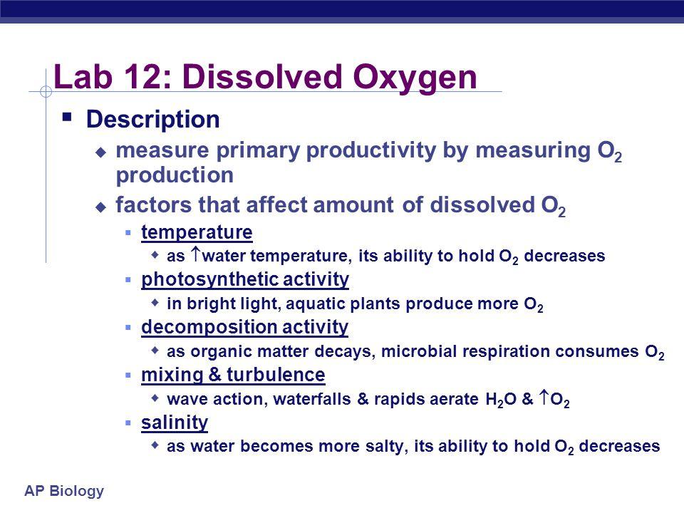 Lab 12: Dissolved Oxygen Description
