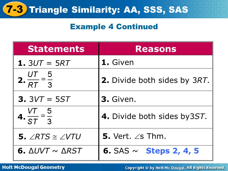 Statements Reasons Example 4 Continued 1. 3UT = 5RT 1. Given 2.