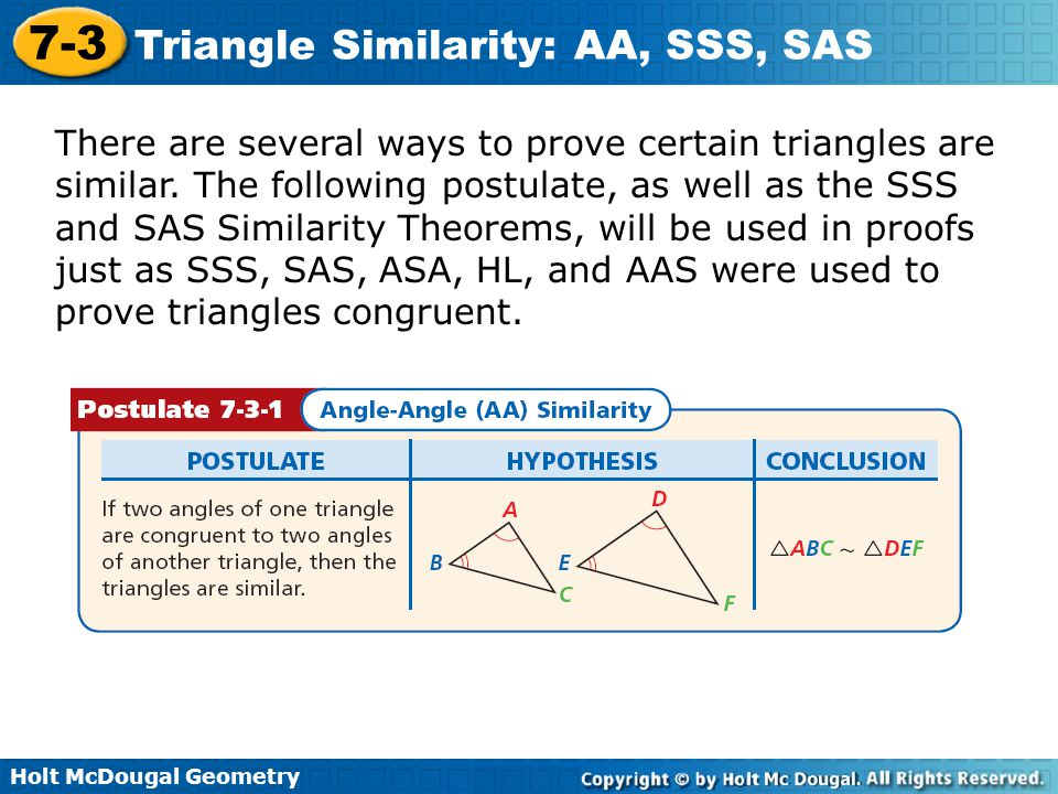 There are several ways to prove certain triangles are similar