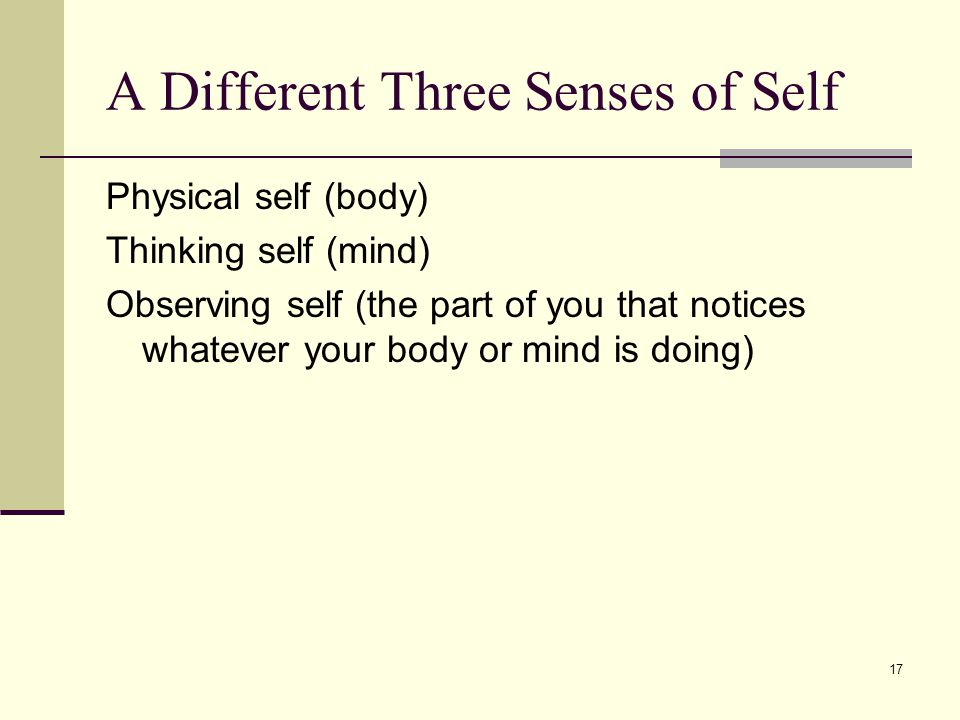A Different Three Senses of Self