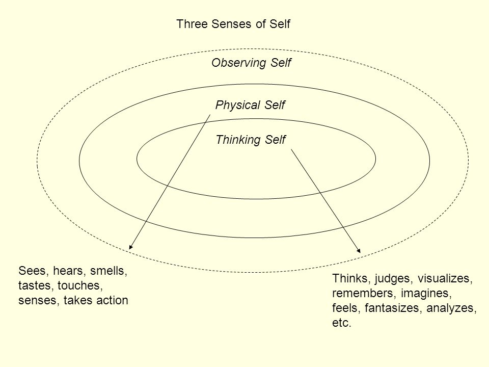Three Senses of Self Observing Self. Physical Self. Thinking Self. Sees, hears, smells, tastes, touches, senses, takes action.