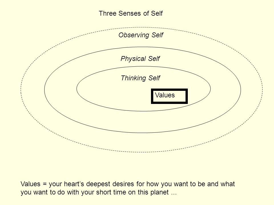 Three Senses of Self Observing Self. Physical Self. Thinking Self. Values.