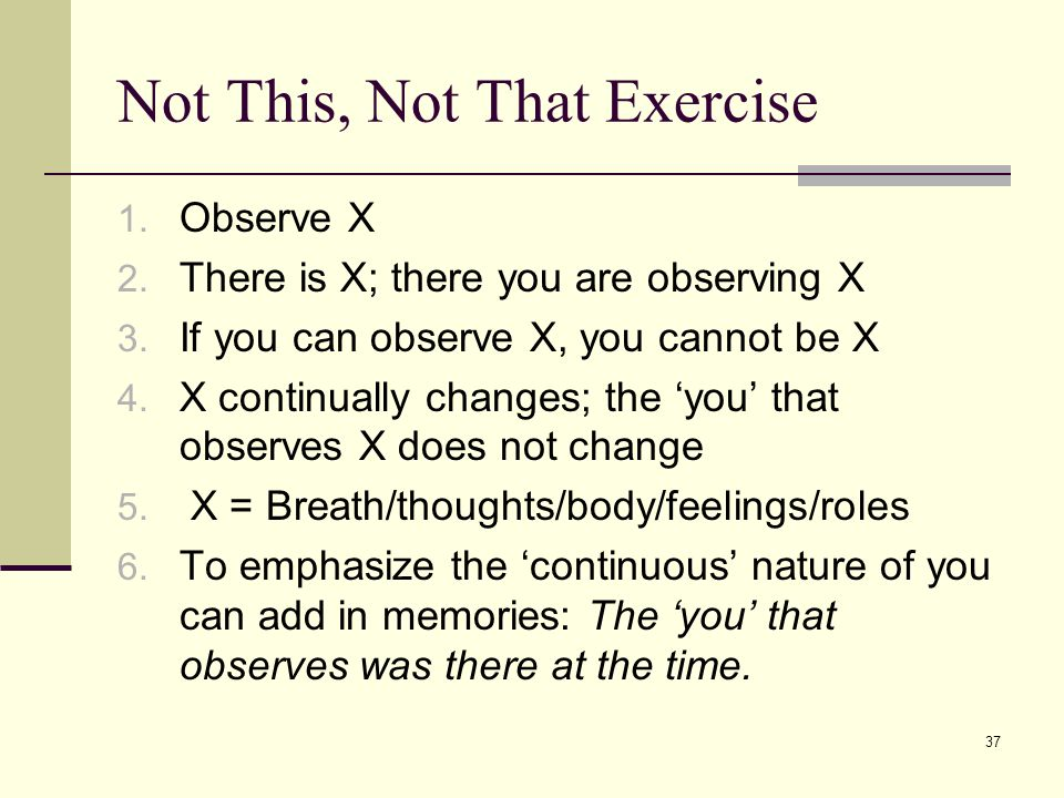 Not This, Not That Exercise