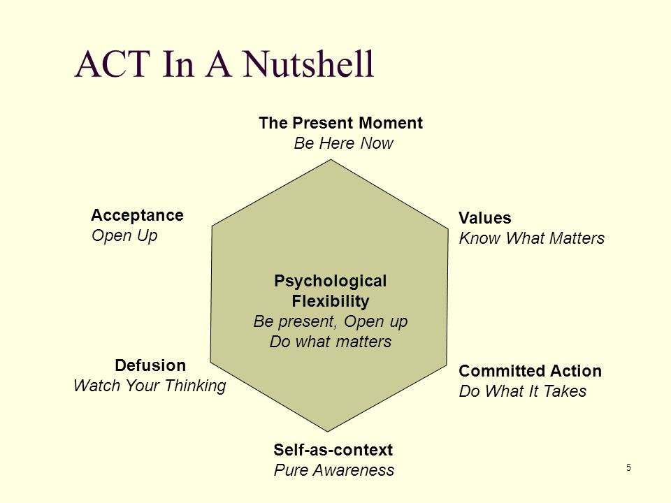 ACT In A Nutshell The Present Moment Be Here Now Acceptance Values
