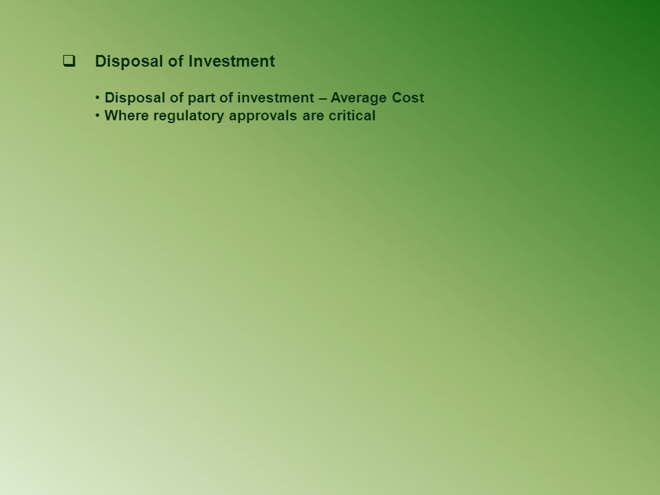 Disposal of Investment