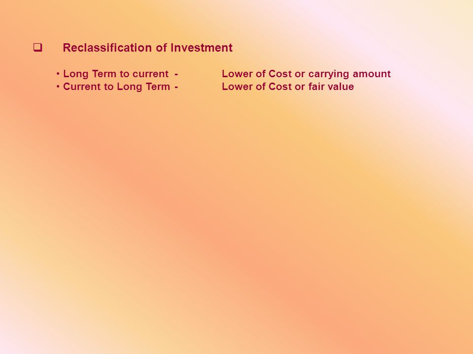 Reclassification of Investment