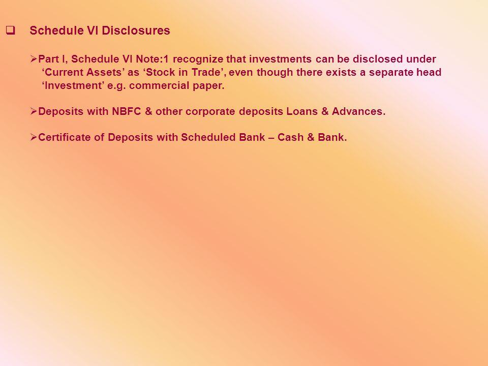 Schedule VI Disclosures