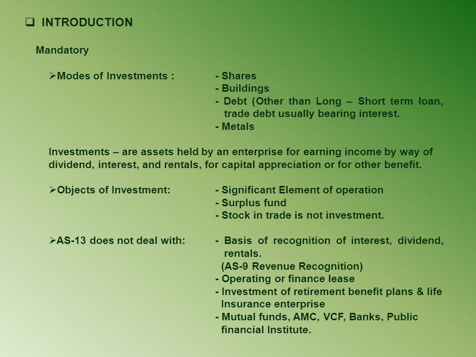 INTRODUCTION Modes of Investments : - Shares - Buildings