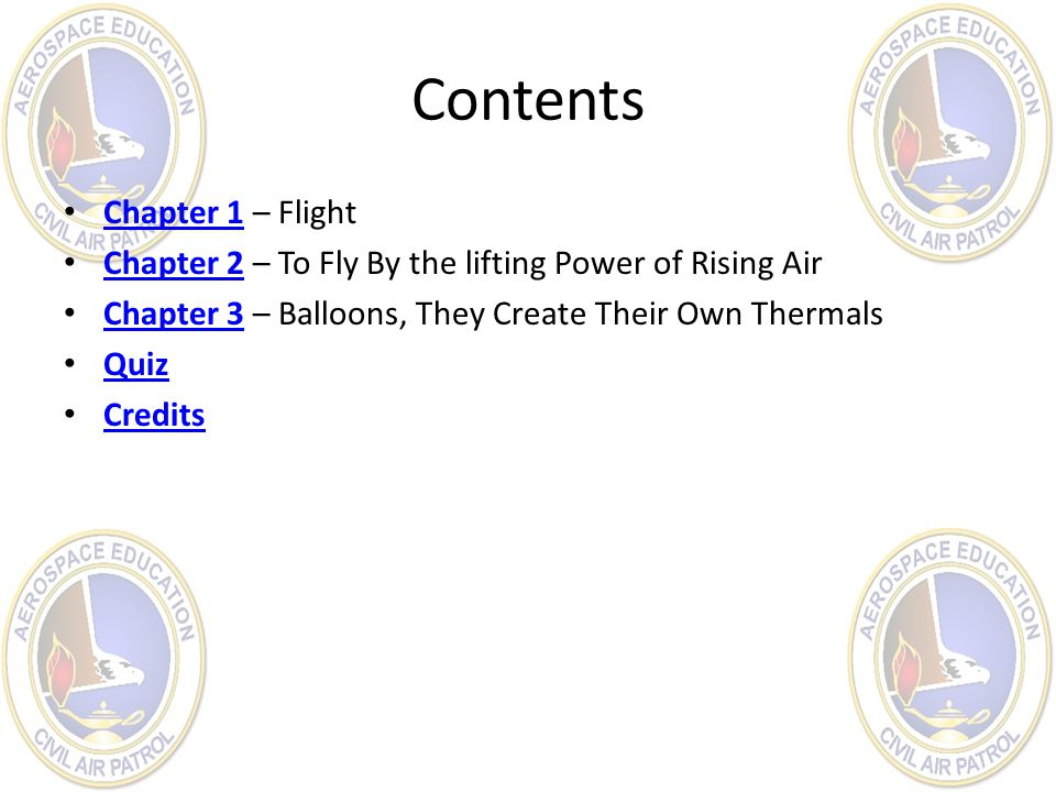 Contents Chapter 1 – Flight