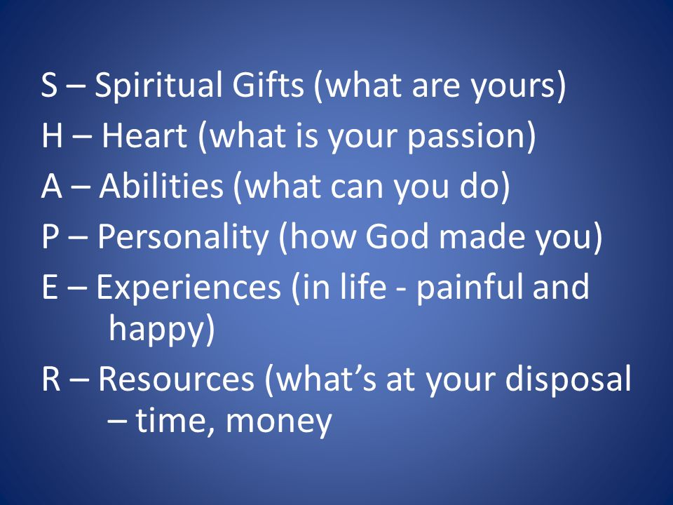 S – Spiritual Gifts (what are yours)