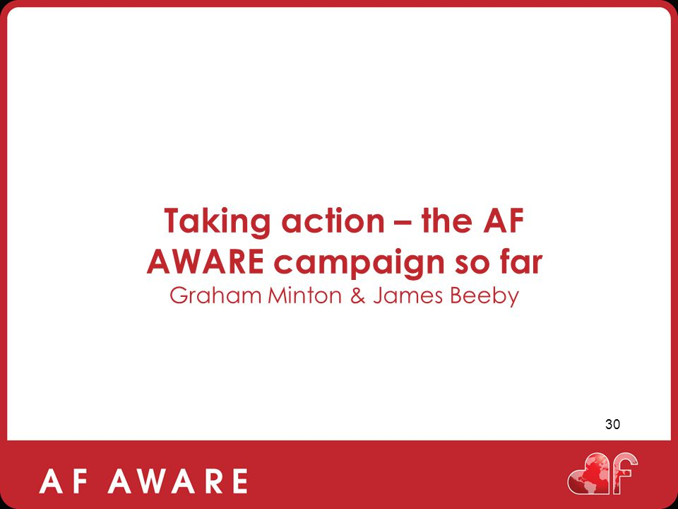 Taking action – the AF AWARE campaign so far Graham Minton & James Beeby