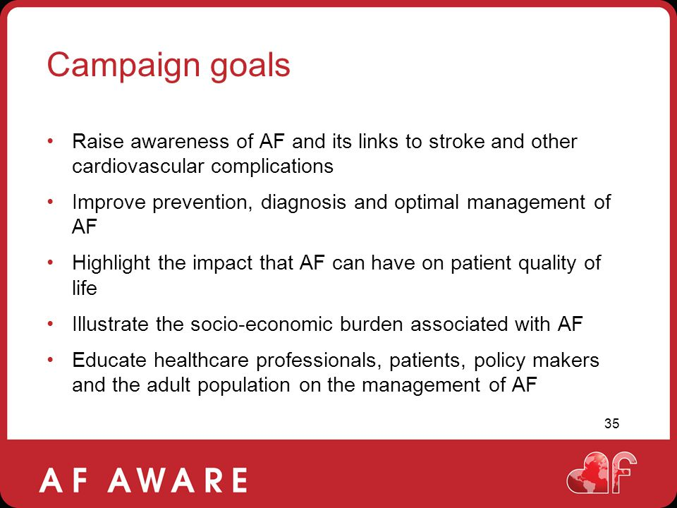 Campaign goals Raise awareness of AF and its links to stroke and other cardiovascular complications.