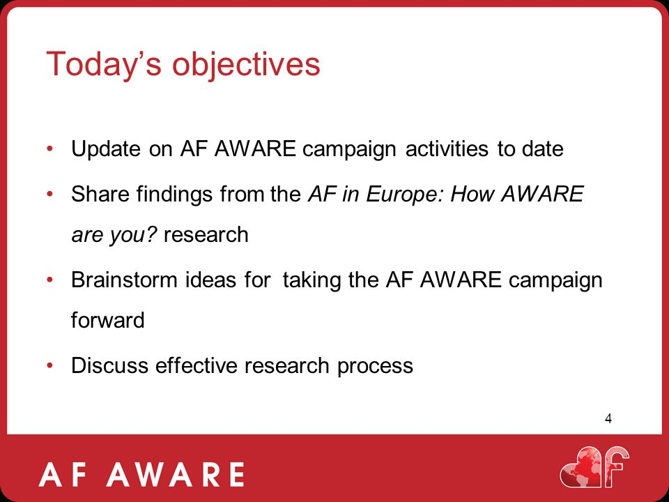 Today's objectives Update on AF AWARE campaign activities to date