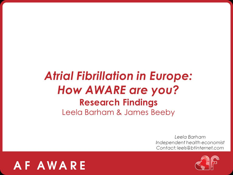Atrial Fibrillation in Europe: How AWARE are you