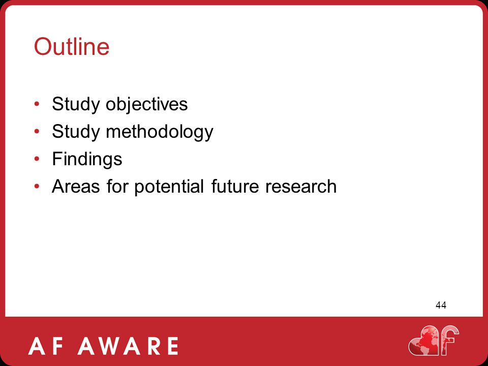 Outline Study objectives Study methodology Findings