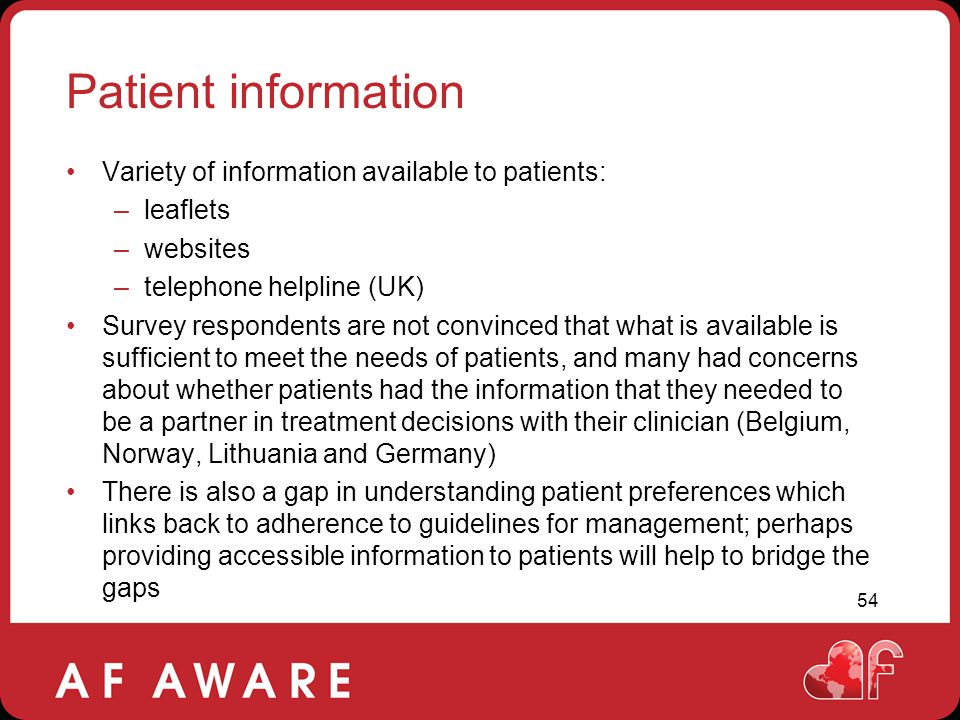 Patient information Variety of information available to patients: