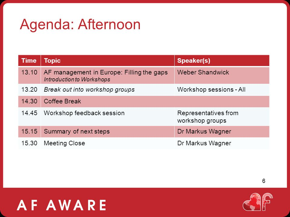 Agenda: Afternoon Time Topic Speaker(s) 13.10