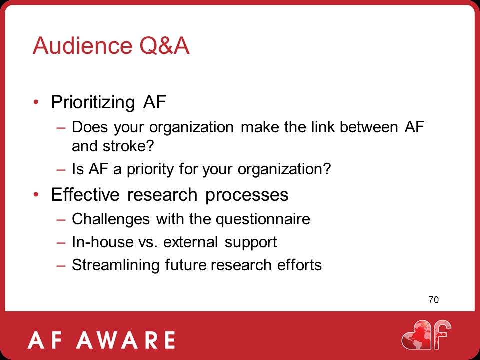 Audience Q&A Prioritizing AF Effective research processes