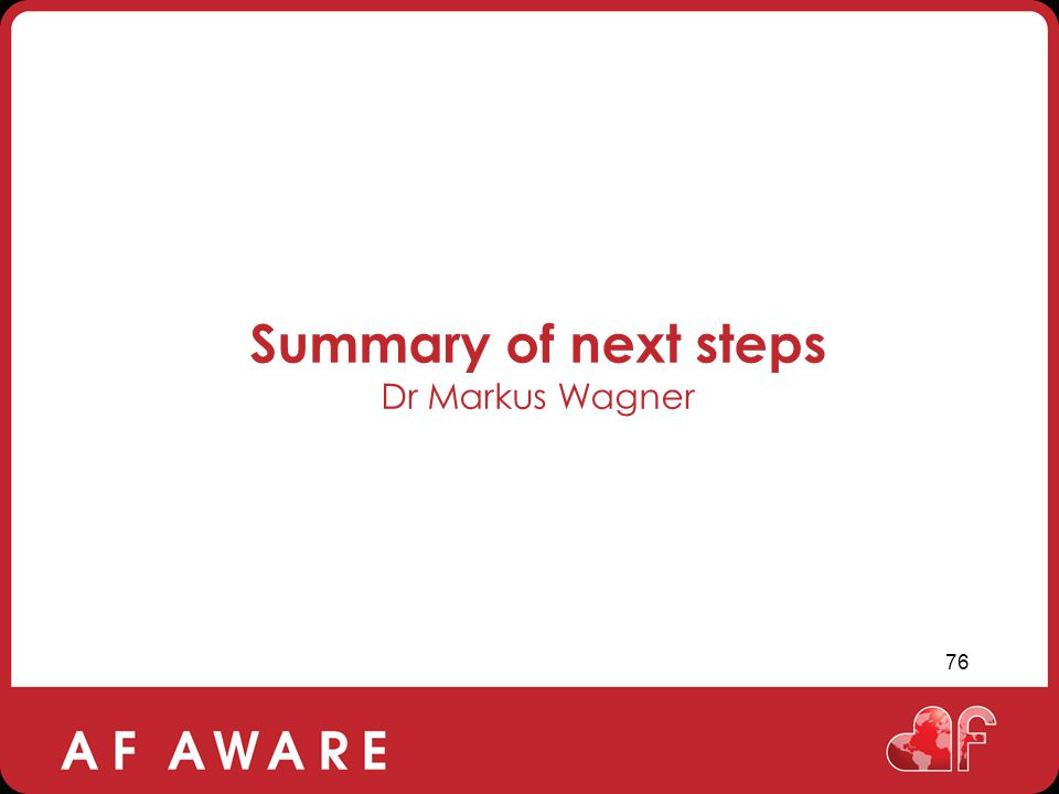 Summary of next steps Dr Markus Wagner