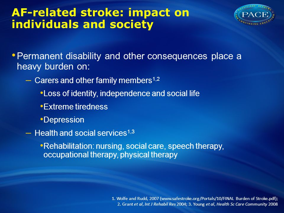 AF-related stroke: impact on individuals and society