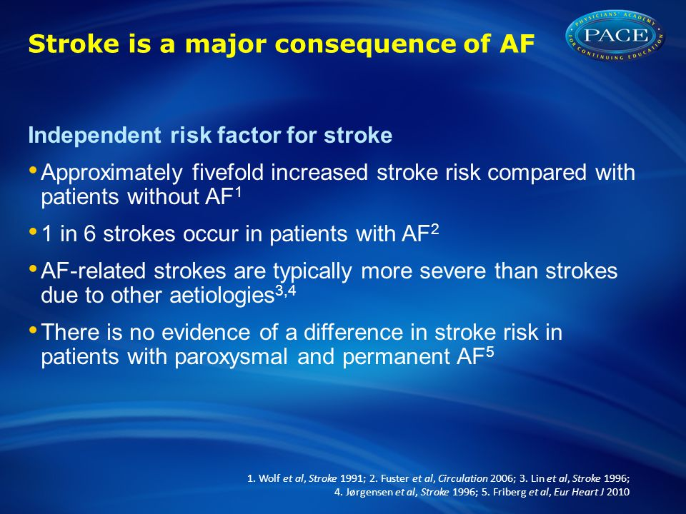 Stroke is a major consequence of AF