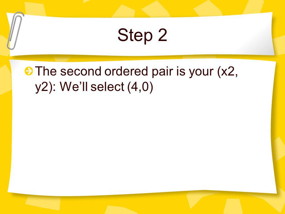 Step 2 The second ordered pair is your (x2, y2): We'll select (4,0)