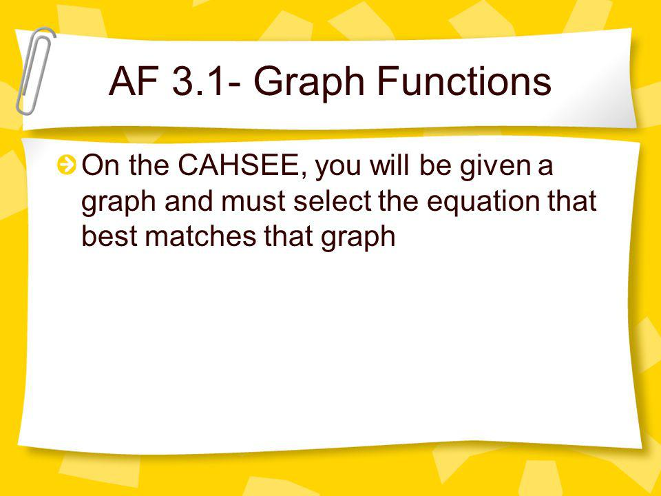 AF 3.1- Graph Functions On the CAHSEE, you will be given a graph and must select the equation that best matches that graph.