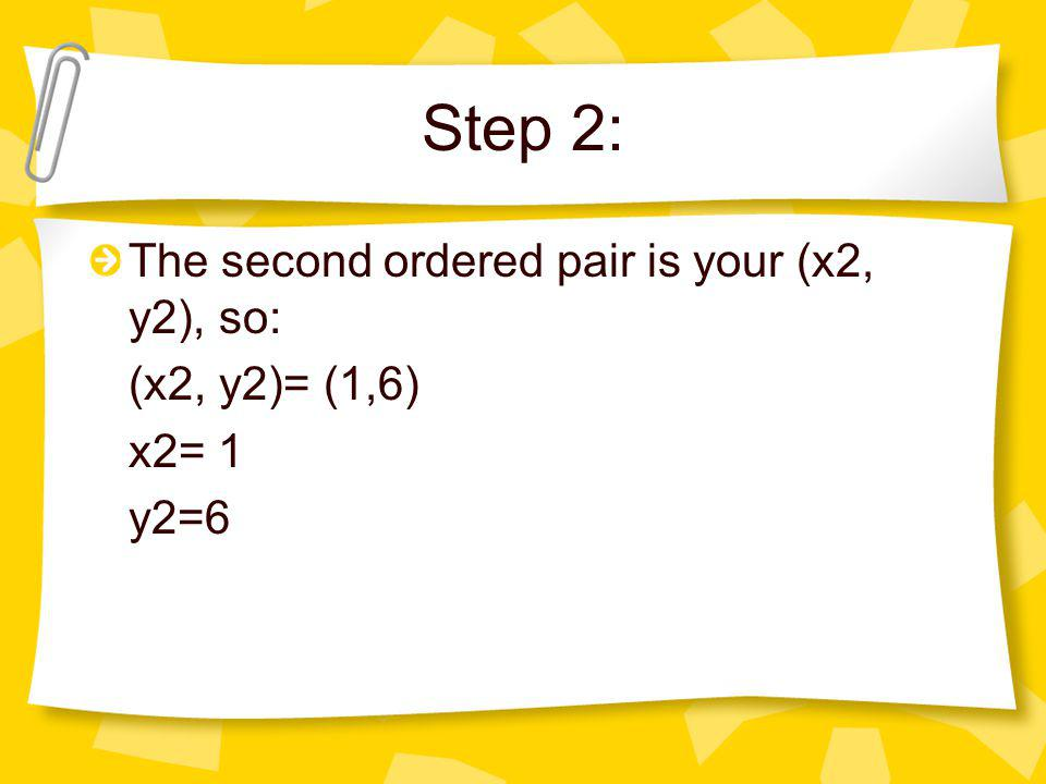 Step 2: The second ordered pair is your (x2, y2), so: (x2, y2)= (1,6)
