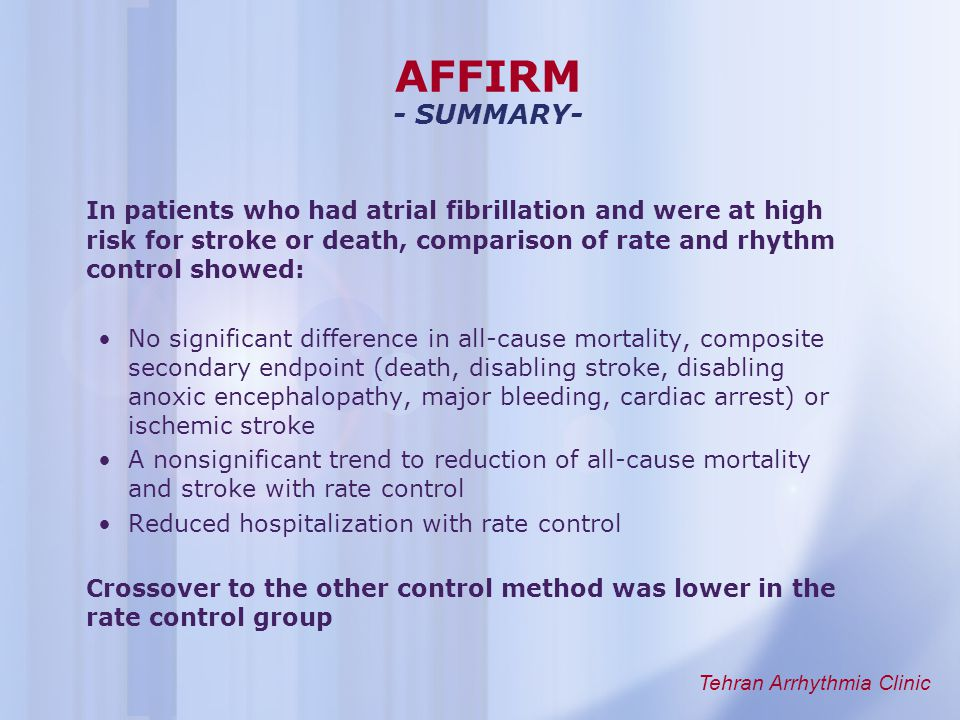 an overview of atrial fibrillation Atrial fibrillation (af) is a condition when the heart does not beat to its normal speeds or rhythm, often it beats faster than it should this irregularity leads to an increased risk of stroke and death.