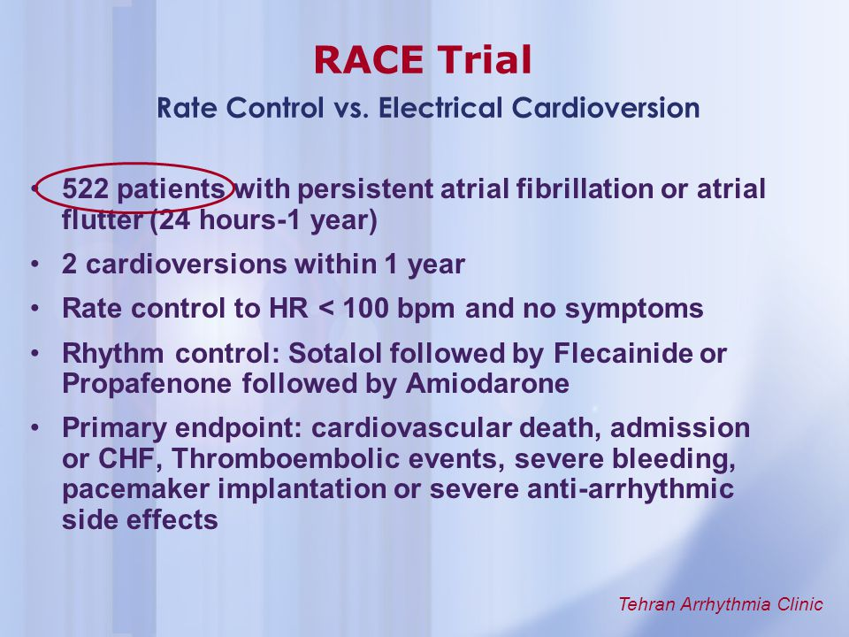 RACE Trial Rate Control vs. Electrical Cardioversion