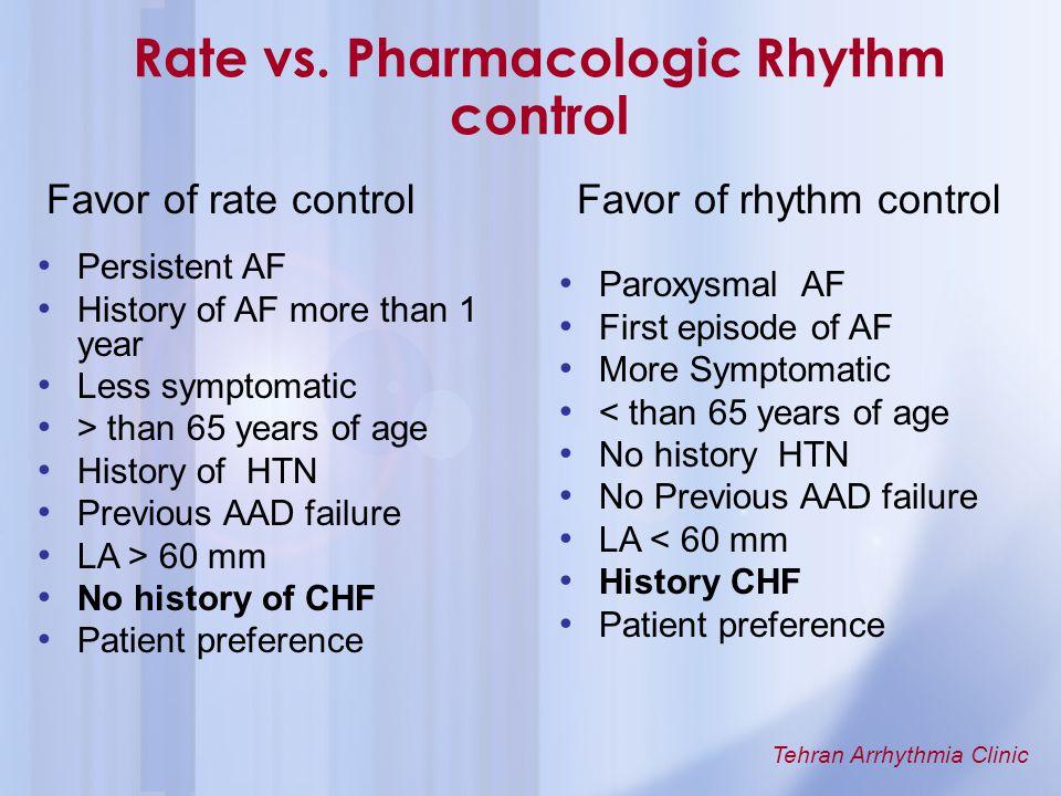 Rate vs. Pharmacologic Rhythm control