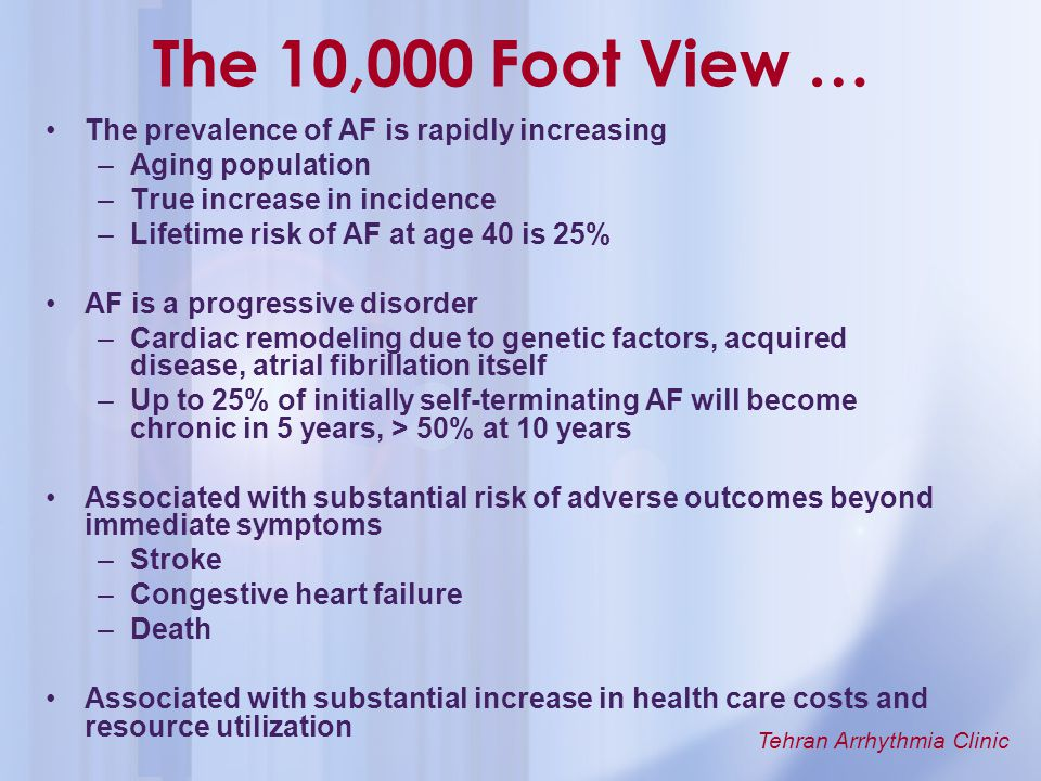 The 10,000 Foot View … The prevalence of AF is rapidly increasing