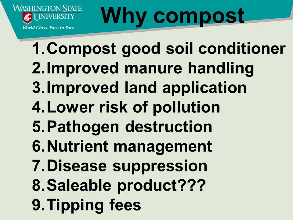 Compost Draw backs Time and money Lack of equipment Land Odor Weather