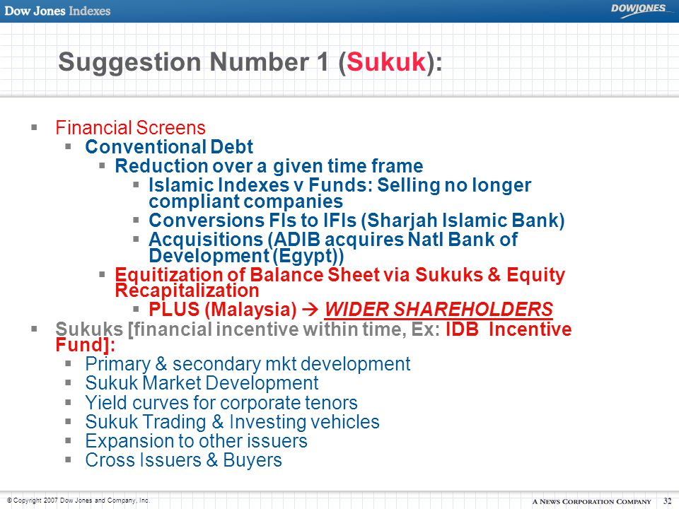 Suggestion Number 1 (Sukuk):