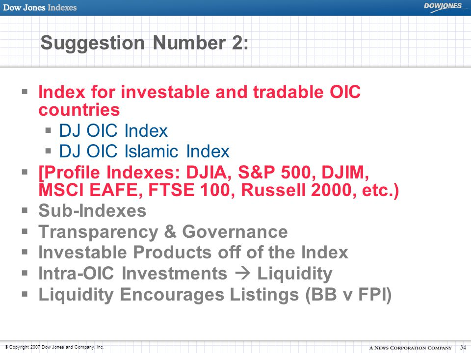 Suggestion Number 2: Index for investable and tradable OIC countries