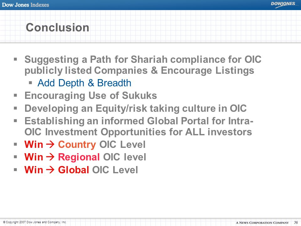 Conclusion Suggesting a Path for Shariah compliance for OIC publicly listed Companies & Encourage Listings.