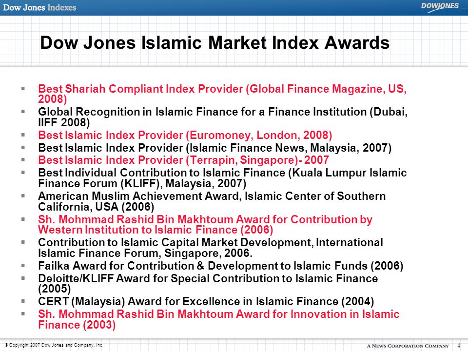 Dow Jones Islamic Market Index Awards