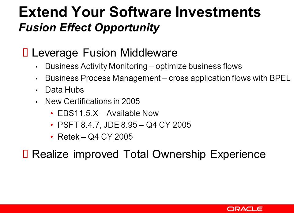 Extend Your Software Investments Fusion Effect Opportunity