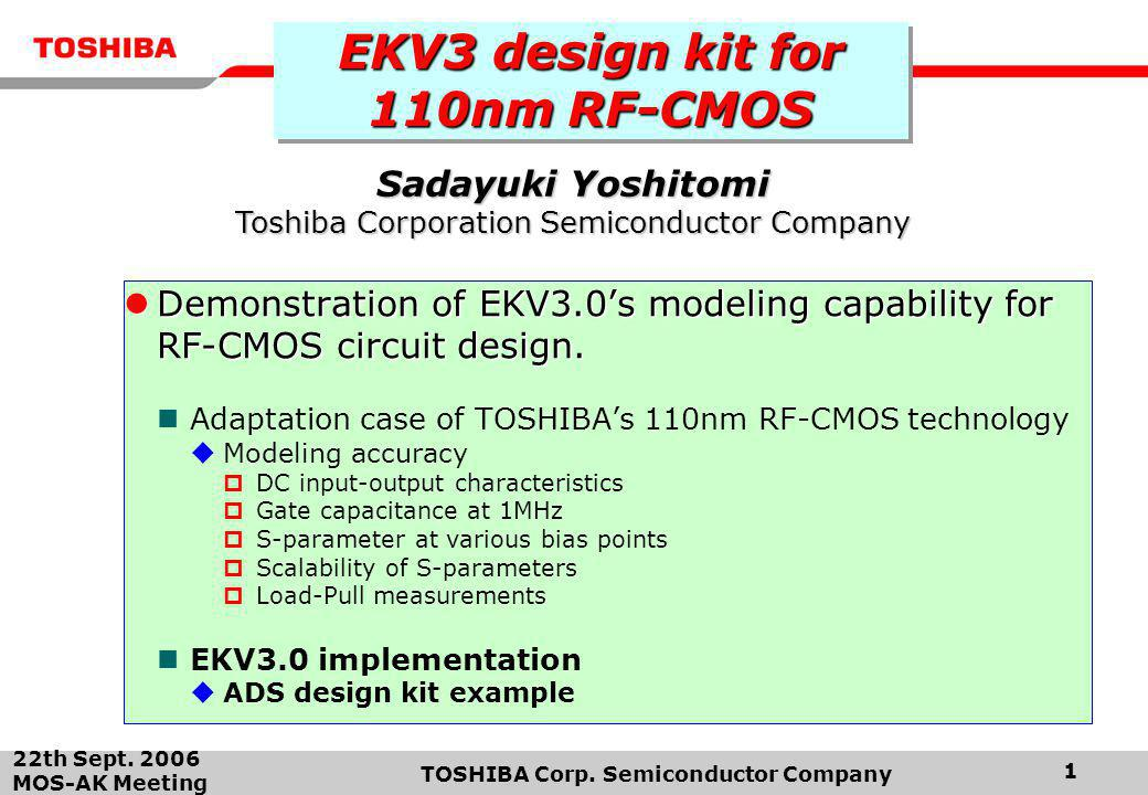 EKV3 design kit for 110nm RF-CMOS