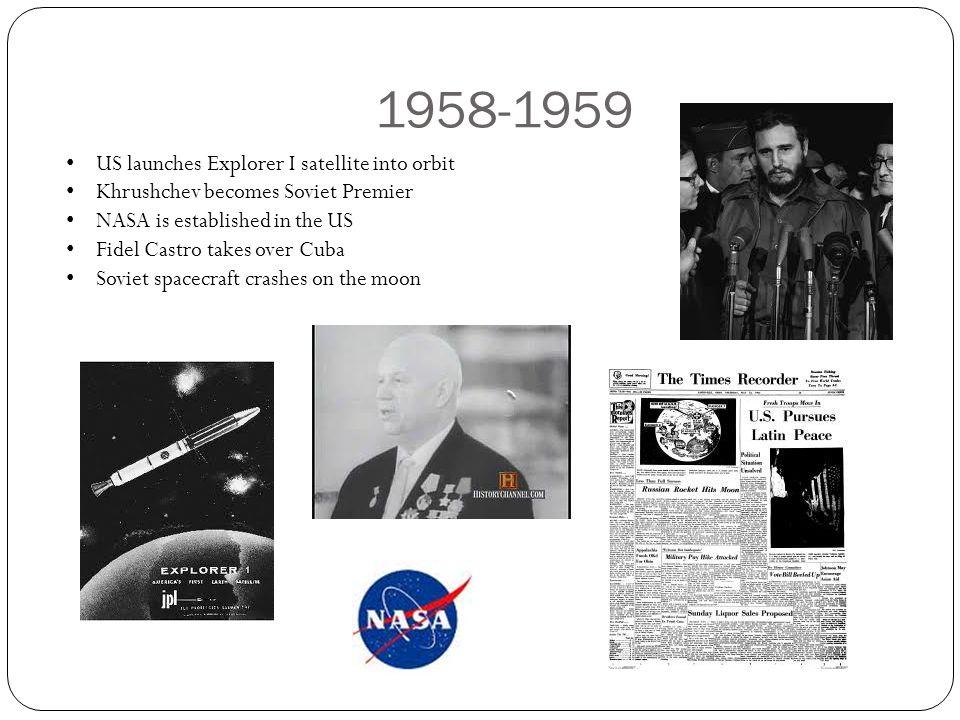 1958-1959 US launches Explorer I satellite into orbit