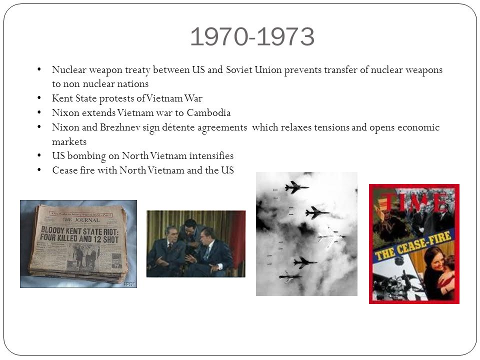 1970-1973 Nuclear weapon treaty between US and Soviet Union prevents transfer of nuclear weapons to non nuclear nations.