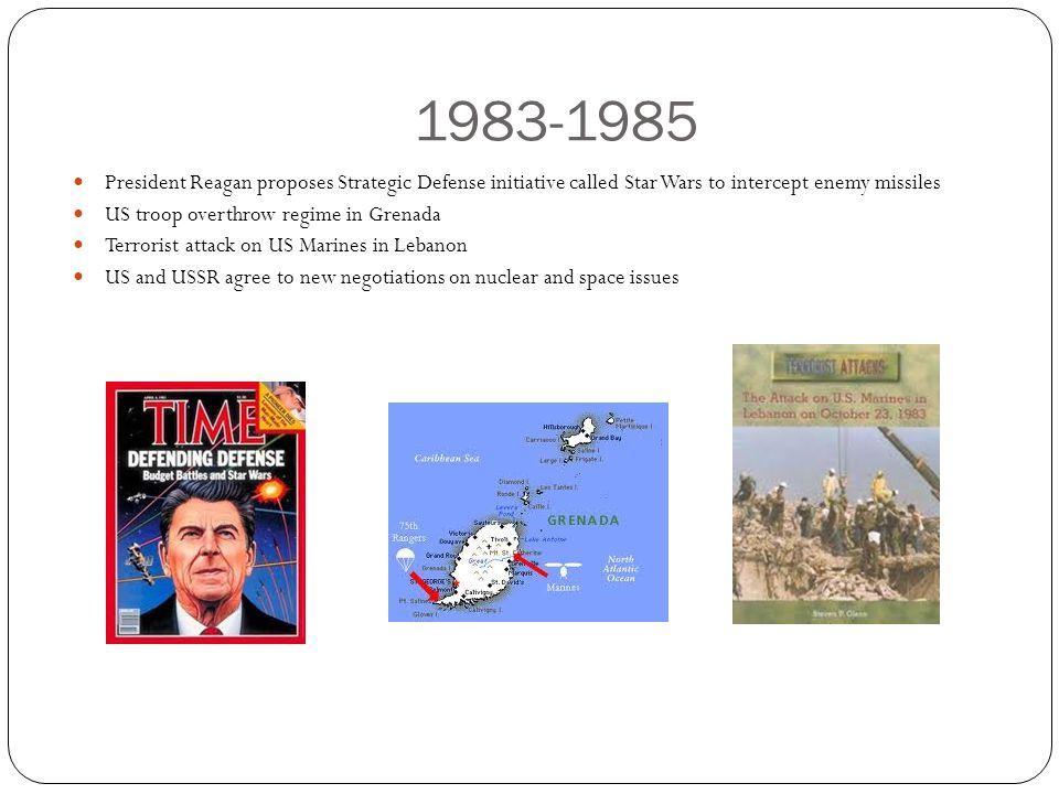 1983-1985 President Reagan proposes Strategic Defense initiative called Star Wars to intercept enemy missiles.