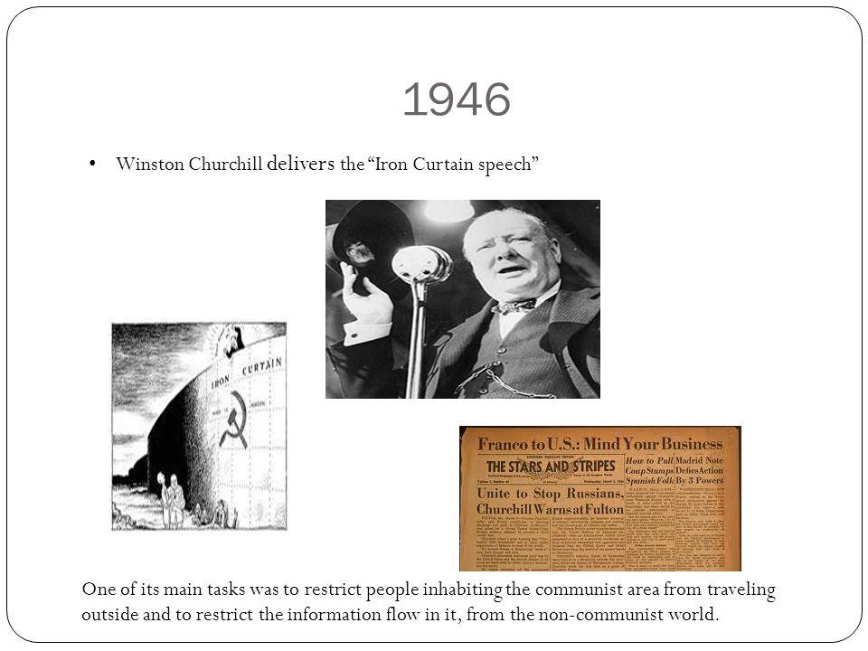 1946 Winston Churchill delivers the Iron Curtain speech